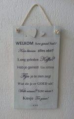 "Houten tekstbord ""Welkom"""